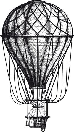 mode of transportation: annata Air Balloon disegnato come incisione isolato su sfondo bianco