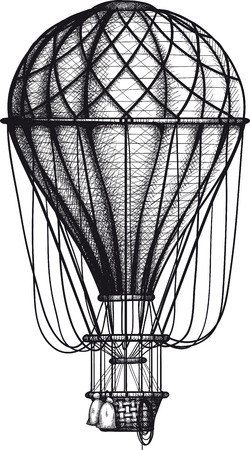 vintage Air Balloon drawn as engraving isolated on white background Vector