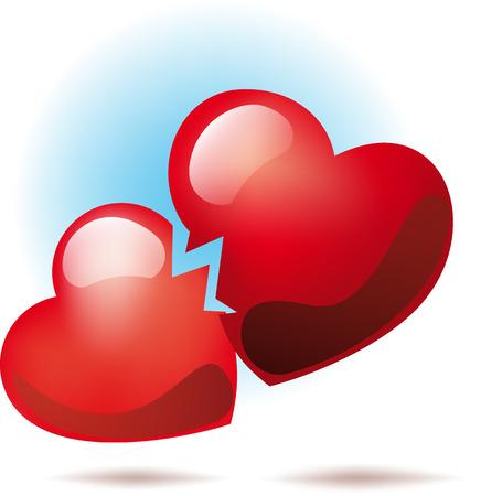 heart broken: Two broken hearts Illustration