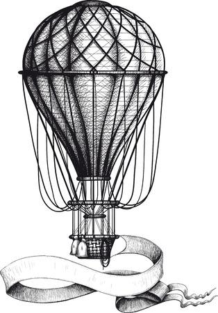 バナーとビンテージ熱気球  イラスト・ベクター素材
