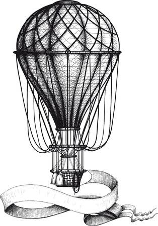 Vintage hot air balloon with banner Illustration