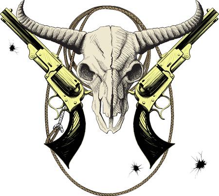toro: La mascota del Salvaje Oeste con el cráneo de bisonte con revólveres y lazo Vectores