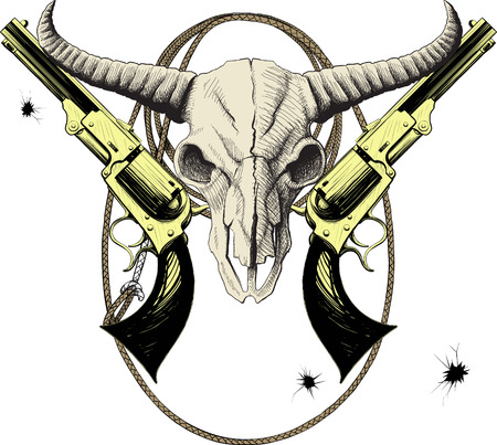 Mascot of the Wild West with bison skull with revolvers and lasso Stock Illustratie
