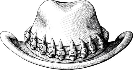 wrangler: cowboy hat view from the front decorated with large tusks Illustration