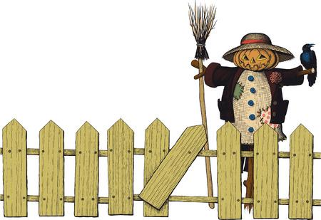 autumn scarecrow: fence and a scarecrow