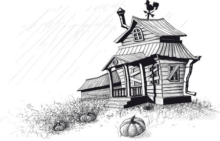 cartoon window: halloween house black