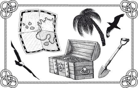 set of pirate treasure Vector