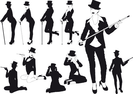 shows: Silhouette girl in hat Illustration
