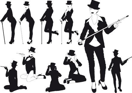 cabaret stage: Silueta de la muchacha en el sombrero