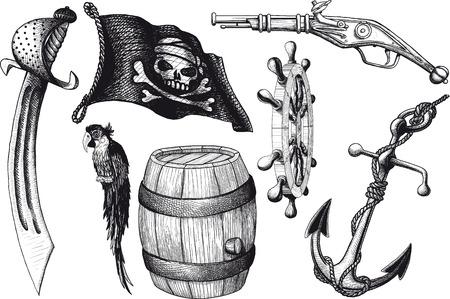 Pirate set attributes Vector