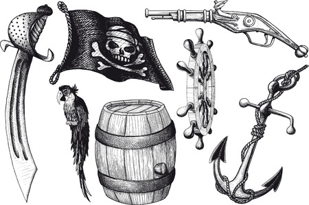 pirates flag design: Pirate set attributes Illustration