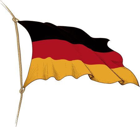 Made in the form of engraving Old waving flag of Germany Vector