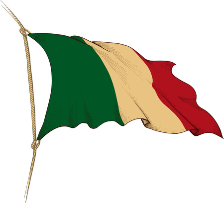 made in italy: Made in the form of engraving Old waving flag of Italy Illustration