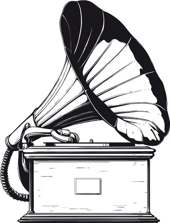 vintage Grammophon Illustration