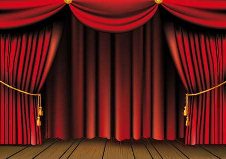 curtain background: Red theater curtain