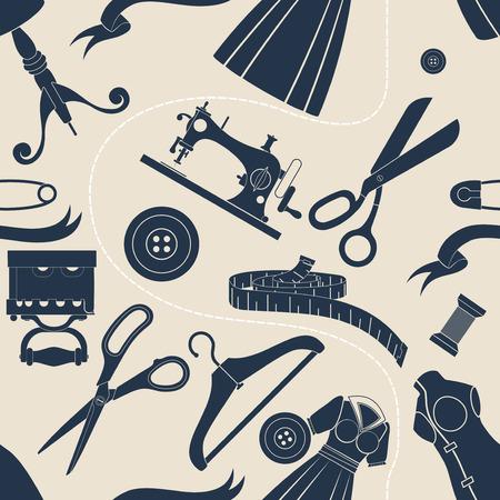 sewing accessories beige background