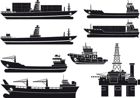 shipping: cargo Vessels tugboat and oil platform