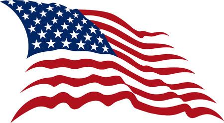 banderas americanas: Agitan de barras y estrellas americanas realizadas en dos colores aislados en blanco
