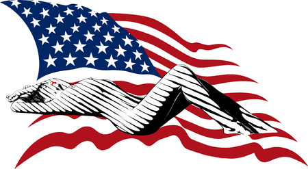 national women of color day: Nude sexy girl bands from the shadows lying on the background of the USA flag