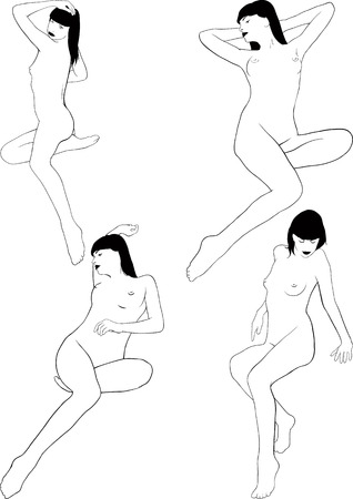 erotic: Some sketches silhouette of a young naked girls in erotic poses Illustration
