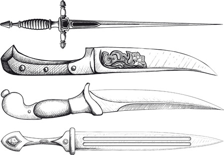 gothic design: Set of Oriental and European Daggers