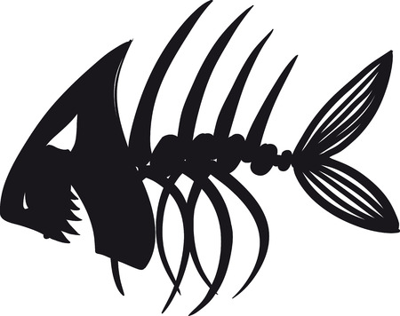 dead fish: Sketch of fish skeleton black