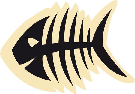 skeleton of fish: Bosquejo de peces de esqueleto negro Vectores