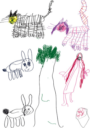 child's: childs drawing cats, rabbits, trees and princesses. And mushroom Illustration
