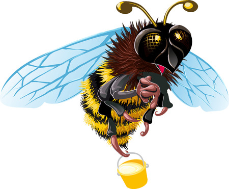 Flying with a bucket of honey bee happy is something to see Vector