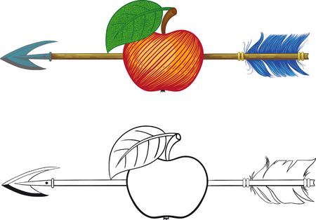 symbolic: black and white and color illustration of arrow hit the exact center of the apple Illustration