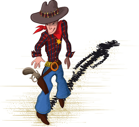 gunfighter: brave sheriff drawn as a sketch which stretches for gun Illustration