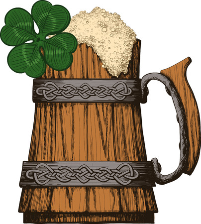 Wooden mug of beer with foam Irish, Celtic pattern. four leaf clover Vector