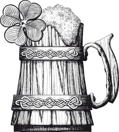 Wooden mug of beer with foam Irish, Celtic pattern. four leaf clover Vector