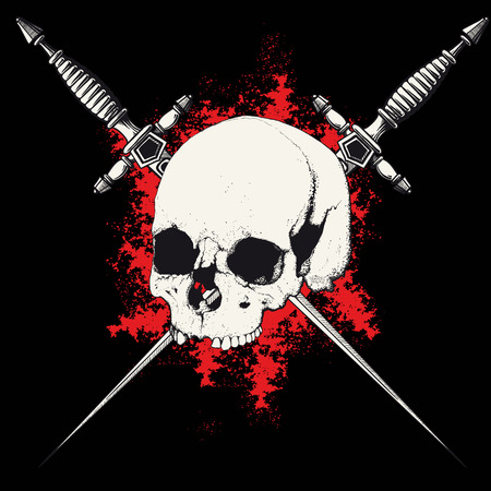 crossbone: skull with two crossed daggers on black and red background Illustration