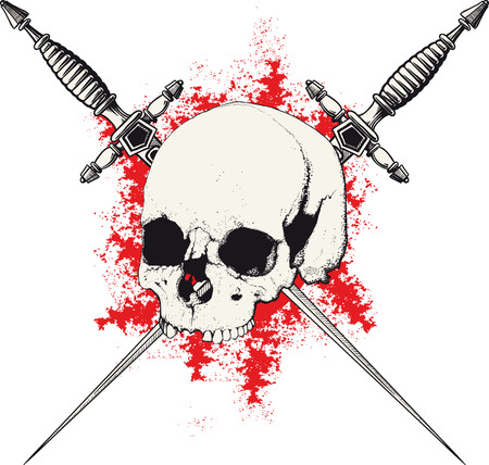 daggers: skull with two crossed daggers on white and red background