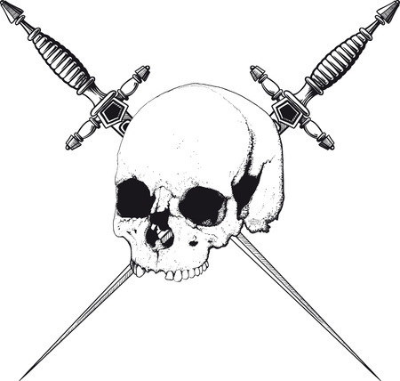 crossbone: skull with two crossed daggers on white background Illustration