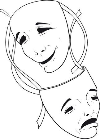 theater masks: two theater masks Illustration