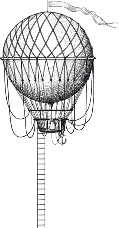 Vintage balloon with a ladder and flag isolated on white Illustration
