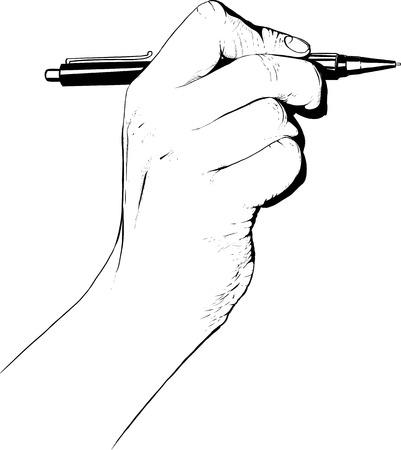 hand holding pen: Hand holding pen