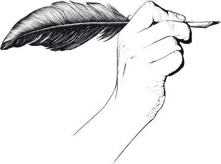 hand holding pen: Hand holding quill pen Illustration