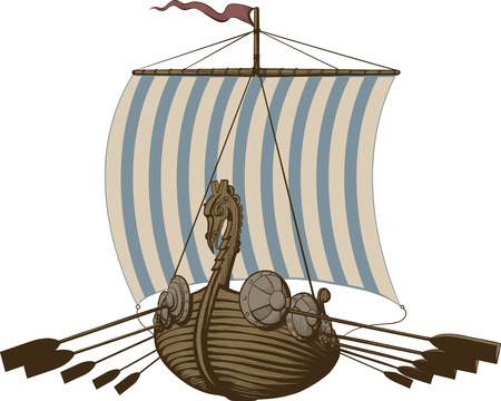 Battle Viking Ship Illustration