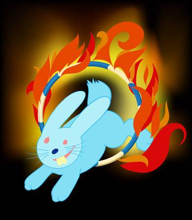 fire ring: Conejo saltando a trav�s del anillo de fuego en el circo Sonre�r