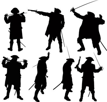 sombrero pirata: siluetas de piratas