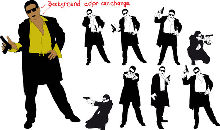 armed: silhouette of armed man Illustration