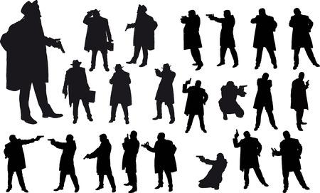 pistolas: Negro silueta gángster Vectores