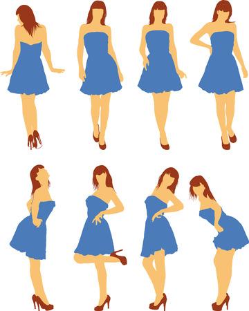 tanzen cartoon: Mädchen in verschiedenen Posen
