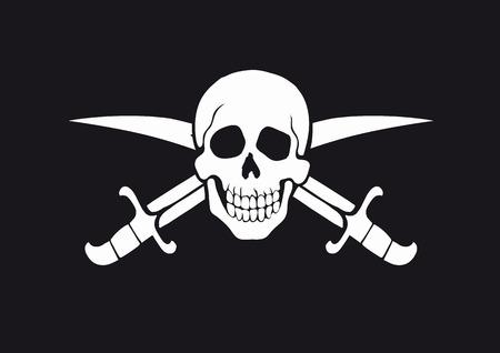 skull and cross bones: Jolly Roger Black