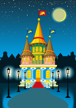 fairytale castle at night