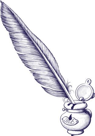 インク壺と羽ペン