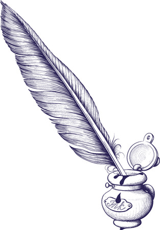 boligrafos: Tintero y pluma de ave